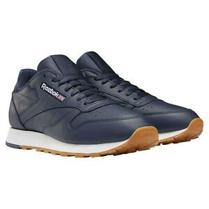 REEBOK MEN'S CLASSIC LEATHER TRAINERS SHOES SNEAKERS NAVY BLUE RETRO VECTOR NEW