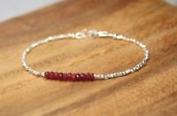 Ruby & Hill Tribe Silver Faceted Gemstone Beaded Rare Bracelet 925 Silver Clasp