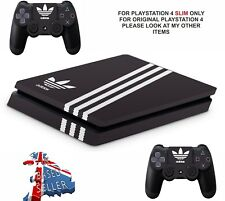 ADIDAS BLACK PS4 SLIM **TEXTURED VINYL ! ** PROTECTIVE SKINS DECALS WRAP STICKER