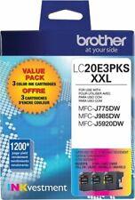 3-PK Genuine Brother LC20E Color Ink Cyan, Magenta, Yellow combo LC20E3PKS