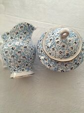 2pc.Grace TeaWare Creamer &Covered Sugar Bowl ,Withe And Blue,Gold-new,free Ship