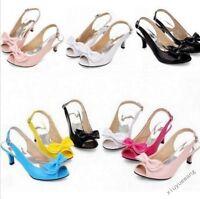 New Ladies Peep Toe Kitten Heels Patent Leather BowKnot Slingbacks Shoes Sandals