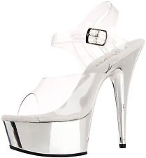 Pleaser Delight Womens UK 6 Clear Silver Chrome Platform Stiletto Heel Shoes NEW