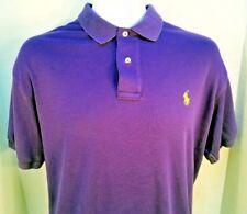 Ralph Lauren Mens Polo Shirt Short Sleeve Purple w Yellow Logo Size Small