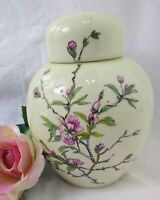 Vintage Hand Painted GINGER JAR w/ Lid Cherry Blossoms 5 1/4 In INSIDE Painted