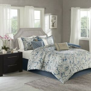 Luxury 7pc Blue & Beige Paisley Print  Comforter Set AND Decorative Pillows