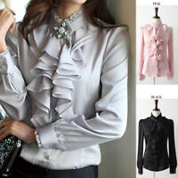 Lady Silk-like Long Sleeve Formal Shirt Frill Drape Ruffle Collar Blouse Top New