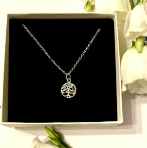 Sterling Silver Tree Of Life Necklace Personalised Birthday Bridesmaids Gift Box