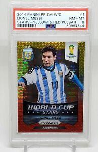 2014 Panini Prizm World Cup Stars Yellow & Red Pulsar Prizms Lionel Messi PSA 8