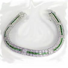 "GREEN EMERALD & CLEAR CZ TENNIS BRACELET_SIZE 8""__925 STERLING SILVER - NF"