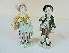 Antique Sitzendorf Figurines Matching Pair  c 1884-1901