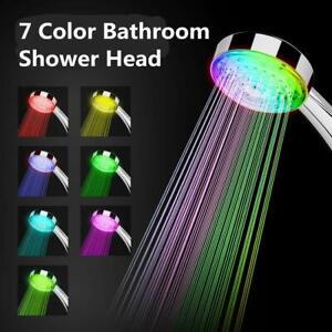 7 Colors Changing LED Light Up Turbo Pressure Bathroom Shower Head Sprinkler UK