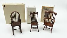 New ListingLot of 3 Vintage Doll Display Chairs Wooden Dollhouse Furniture Miniature