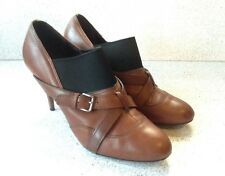 Miu Miu Prada Brown Leather Ankle Boots Black Elastic Size 41 Made In Italy