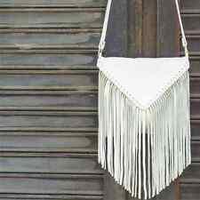 J. J. Winters Emma Messanger White Italian Leather Fringe Handbag/Purse NEW!