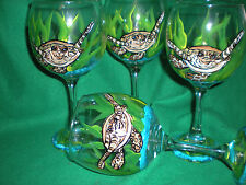 HAND PAINTED SEA TURTLE  GOBLETS / SET OF 4- 10 OUNCES EACH