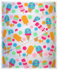 7/8 POPSICLE PARTY BEACH TREAT ICE CREAM MTMG GROSGRAIN RIBBON 4 HAIRBOW BOW