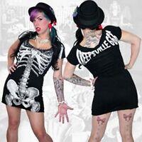 Kreepsville 666,skeleton dress, black with white skeleton, alternative, Gothic