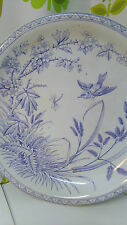 Victorian Large Blue And White Footed Plate/Comport Fred Booth Bradford  (3)