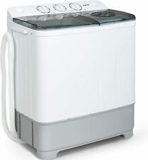 21lbs Portable Washing Machine Twin Tub Compact Spin Dryer Combo White&Grey