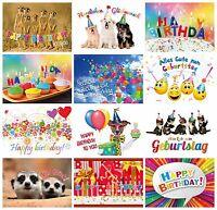 Geburtstagskarten (Set 2): 24 Glückwunschkarten zum Geburtstag 12 Motive x 2 St.