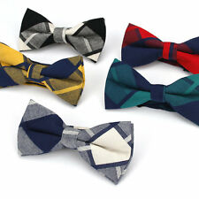 Vintage Lot 5 Pcs Men's Bow Tie Adjustable Cotton Bowtie Plaids Checks Butterfly