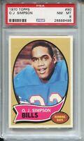 1970 Topps Football #90 O.J. Simpson Rookie Card RC Graded PSA NM MINT 8 Bills