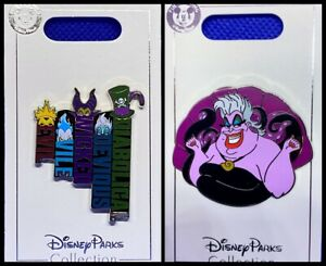 Disney Parks 2 Pin Lot Villains + Ursula / Evil Queen Maleficent Hades - NEW