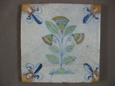 Polychrome Antique Dutch flower tile 17th century - free shipping