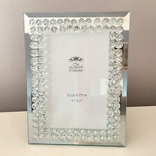 CRYSTAL DIAMANTE MIRRORED PHOTO PICTURE FRAME SIZE 6 X 4 INCH FREESTANDING GIFT