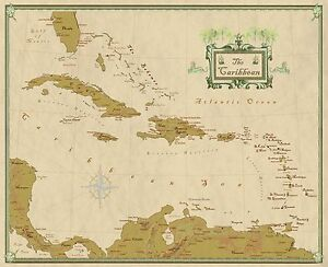 Caribbean and West Indies Wall Map Mural and Poster Modern Day Antique Edition