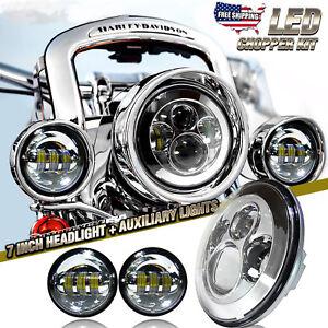 """7"""" LED Headlight + 2x 4.5"""" Fog Light Passing Lamp for Harley Davidson Motorcycle"""