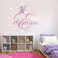 Fairies Flower Custom Personalised Name Wall Stickers Kids  Nursery Decal Decor