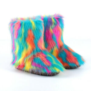 Winter New Fashion Women's Colorful Faux Fur Round Toe Comfort Warm Ankle Boots
