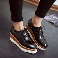 Fashion Women Square Toe Lace Up Platform Wedge Creeper Oxfords Mid Heel Shoes
