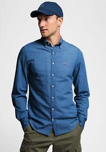 Gant Men Long Sleeve Blue Indigo Cotton Retro Casual 80s Vintage Denim Shirt