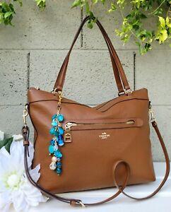Coach 54687 Tyler soft Leather tote shoulder bag purse saddle brown handbag