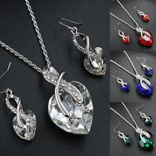 Wedding Bridal Rhinestone Crystal Heart Necklace Earrings Women Jewellery Set