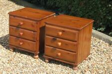 Fab Pair of Solid Pine Bedside Cabinets Three Drawer Chests Bun Feet