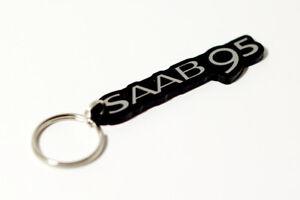 Saab 9-5 Keyring - Brushed Chrome Effect Classic Car Keytag / Keyfob