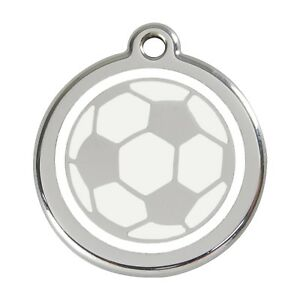 Red Dingo Stainless Steel & Enamel Dog ID Tag-Soccer Ball