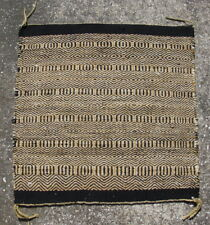 Old Navajo rug / horse saddle blanket double weave twill yellow black 33x32in