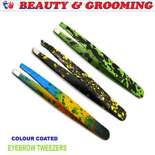 Set Of 3 Stylish Multi Color Coated Eyebrow Tweezers Beauty Makeup Cosmetic New