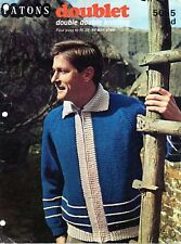 """~ Vintage 1960's Patons Knitting Pattern For Man's Zip-Front Jacket ~ 38"""" ~ 44"""""""