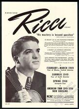 1949 Ruggiero Ricci photo violin recital tour booking print ad