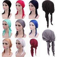 Womens Head Scarf Chemo Hat Turban Pre-Tied Headwear Bandana Tichel Cancer