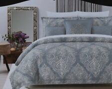 Cynthia Rowley King Duvet Cover Set Medallion Paisley Blue Gray Floral 3pc New