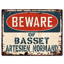PPDG0153 Beware of BASSET ARTESIEN NORMAND Plate Rustic TIN Chic Sign