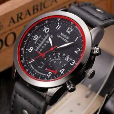 Military Watch Leather Waterproof Date Analog Army Men's Quartz Wrist Watches