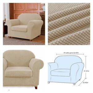 New, Stretch 2 Piece Textured Grid Armchair Slipcover, Camel. Scratch Resistant